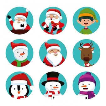Рождество с санта-клаусом и набором символов