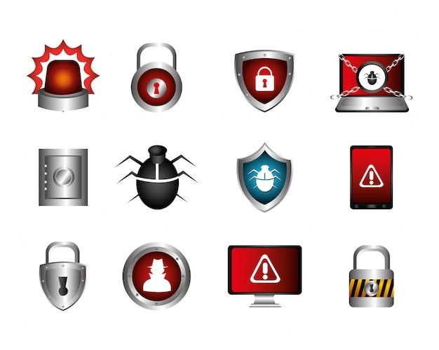 サイバーセキュリティとアイコンの