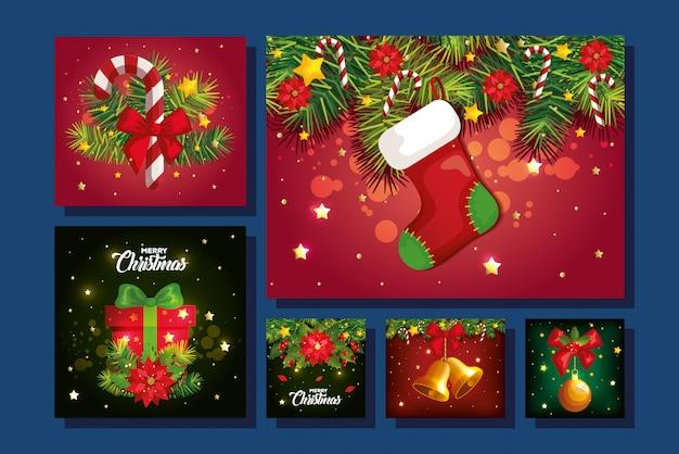 装飾とメリークリスマスの背景のセット