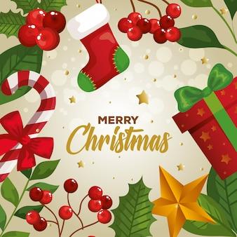 メリークリスマスと装飾カード