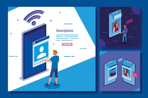 Набор сцен с иконками смартфона и социальных сетей