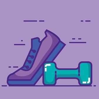 Спортивная теннисная обувь с гантелями