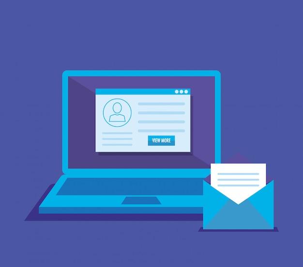 Ноутбук с социальными иконками маркетинга