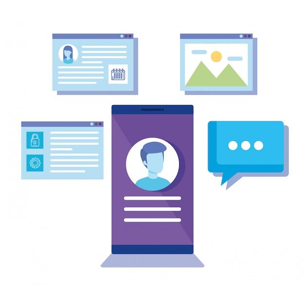 Смартфон с иконками социальных медиа