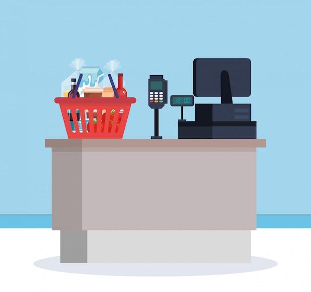 Супермаркет, пункт продажи с корзиной покупок