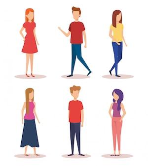 Группа молодых людей персонажей