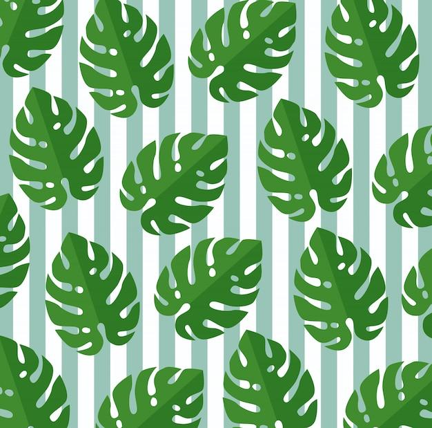 熱帯の葉の植物植物のシームレスパターン