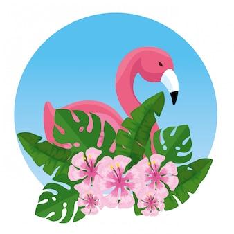Тропический фламандский с экзотическими цветами и листьями