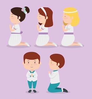 女の子と男の子を宗教の最初の聖体拝領に設定する