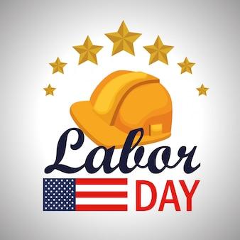 アメリカの国旗とヘルメットと労働者の日