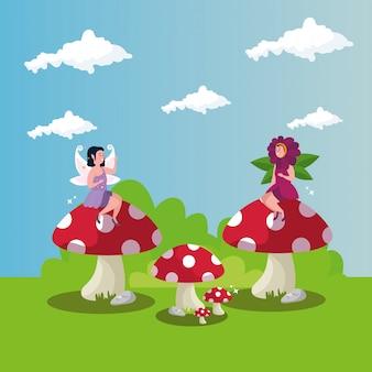 シーンの魔法の妖精と花を偽装した女性