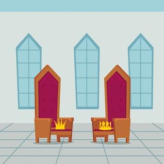 城の屋内の王の椅子