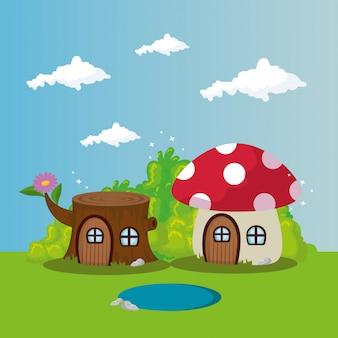 シーンのおとぎ話の木の家と菌