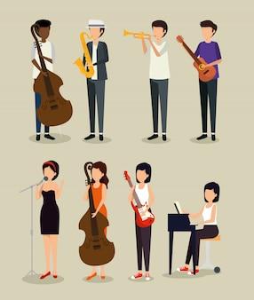 Набор мужчины и женщины играют на инструменте