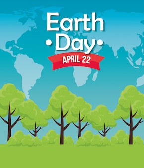 地球の日のお祝いに木を保護