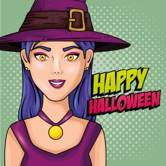 Молодая женщина в шляпе с ведьмой в стиле поп-арт