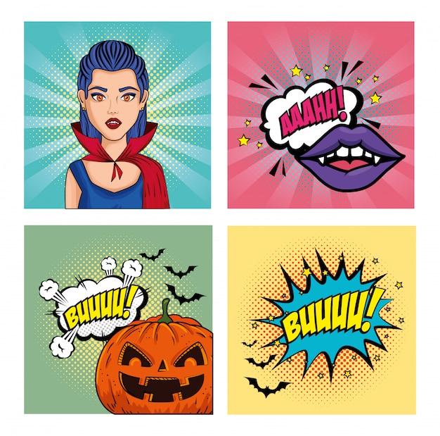 Набор баннеров в стиле хэллоуин поп-арт