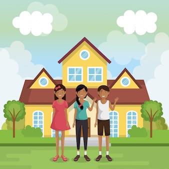 家の外の家族