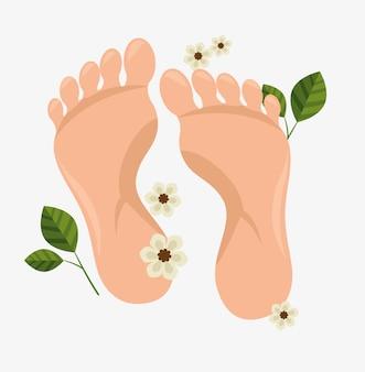 人間の足の温泉治療