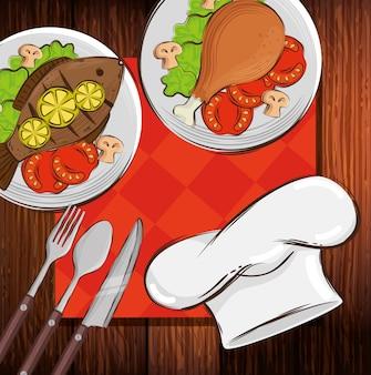 Шляпа шеф-повар с вкусной едой в деревянный стол