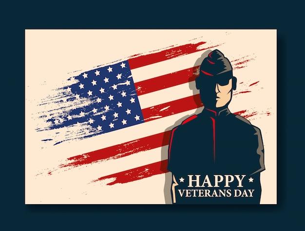 Счастливое празднование дня ветеранов с военными и флагом