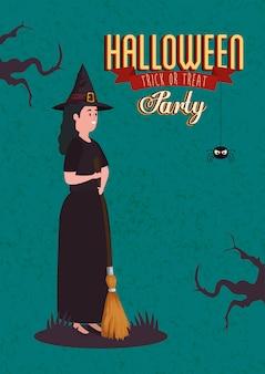 Афиша вечеринки хэллоуин с женщиной, замаскированной под ведьму