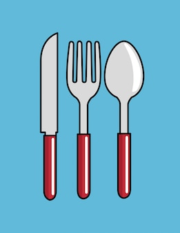 Мультфильм ложка вилка нож дизайн кухни