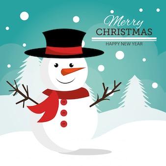 メリークリスマスと幸せな新年のカードデザイン