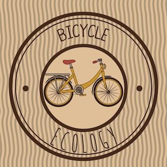 レトロなエンブレム自転車のイラスト