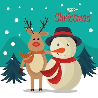 Счастливого рождества мультфильм дизайн поздравительных открыток