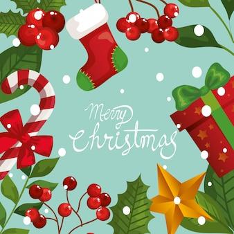 Веселая рождественская открытка с рамкой из листьев и украшения