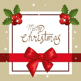 Веселая рождественская открытка с бантиком и квадратной рамкой