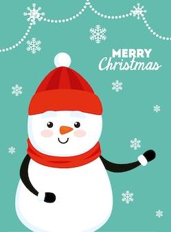 Веселая рождественская открытка со снеговиком