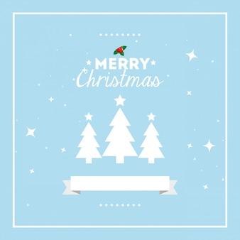 Веселая рождественская открытка с соснами и лентой