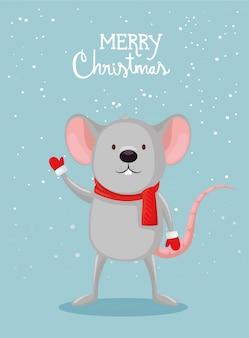 Веселая рождественская открытка с милой мышкой