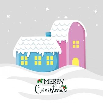 Веселая рождественская открытка с фасадами домов