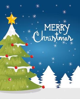 冬の風景の中の松の木とメリークリスマスカード