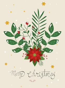 Веселая рождественская открытка с цветочным декором
