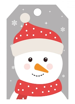 メリークリスマスかわいい雪だるまキャラクター