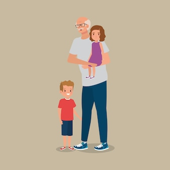 Дедушка с внуком аватар персонажа