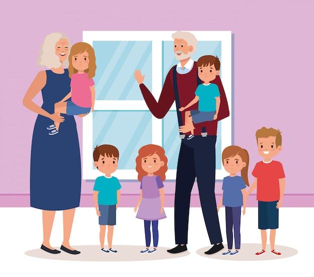 Бабушка и дедушка с внуками в помещении дома сцена
