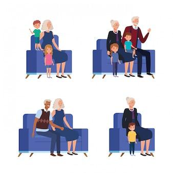 ソファに座っている孫を持つ祖父母のシーン