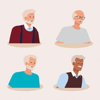 老人のアバターキャラクターのグループ