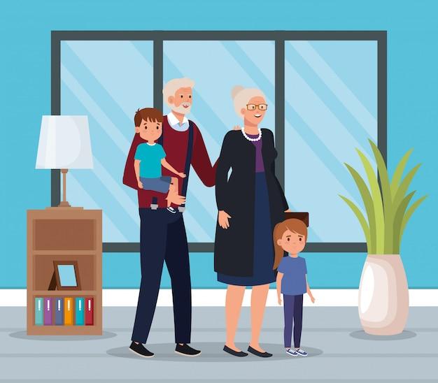Бабушка и дедушка с внуками в помещении дома сцены