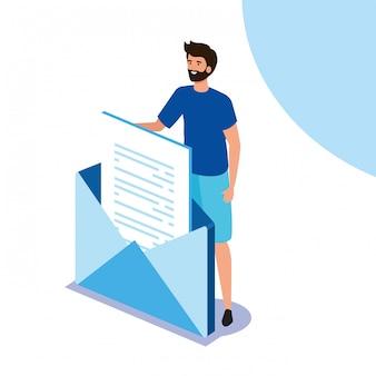 ビジネスの男性と封筒メール