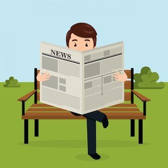 公園のアバターのキャラクターで新聞を読むビジネスマン