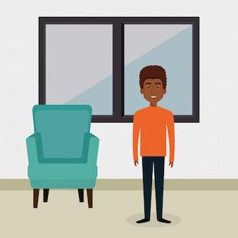 リビングルームのキャラクターシーンの若い男