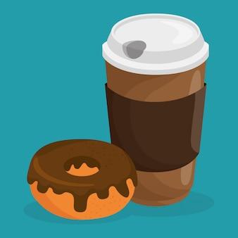 コーヒーとドーナツのおいしい食べ物の朝食