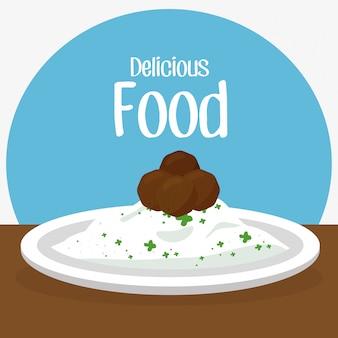 ご飯と肉のおいしい食べ物の朝食