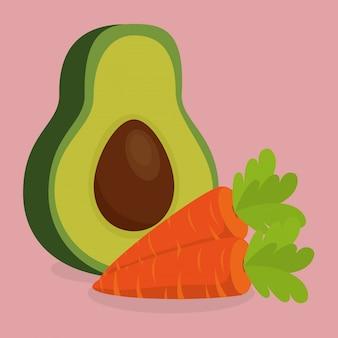Свежие овощи моркови и авокадо